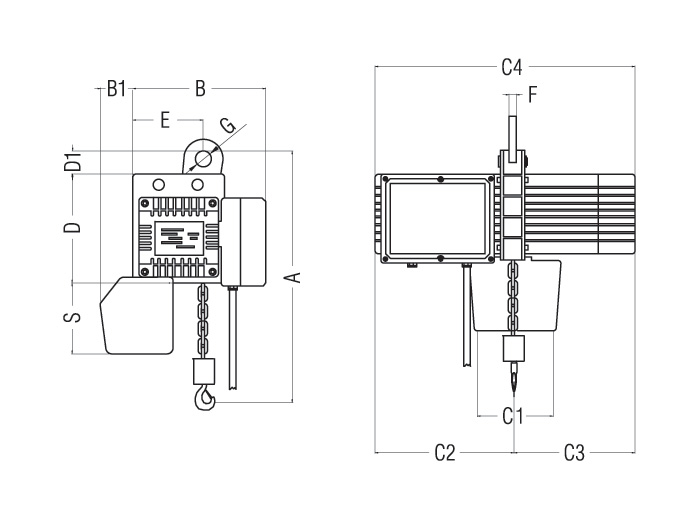 Wciągnik łańcuchowy stacjonarny PODEM serii CLN - szkic 1.