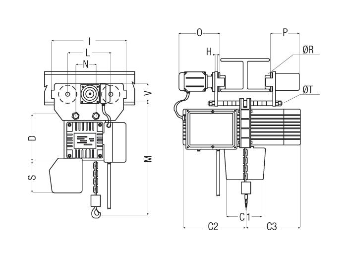 Wciągnik łańcuchowy PODEM z elektrycznym napędem jazdy    Seria CLN Dane techniczne do pobrania.